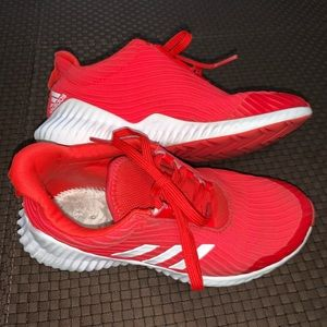 Adidas Red & White athletic shoes 2.5 youth